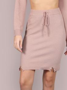 Snipped Hem Drawstring Skirt BLUSH