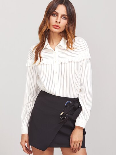 Frill Trim Button Up Striped Blouse
