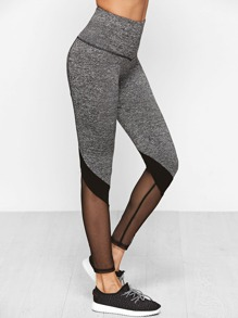 Contrast Mesh Cuff Wide Waistband Leggings