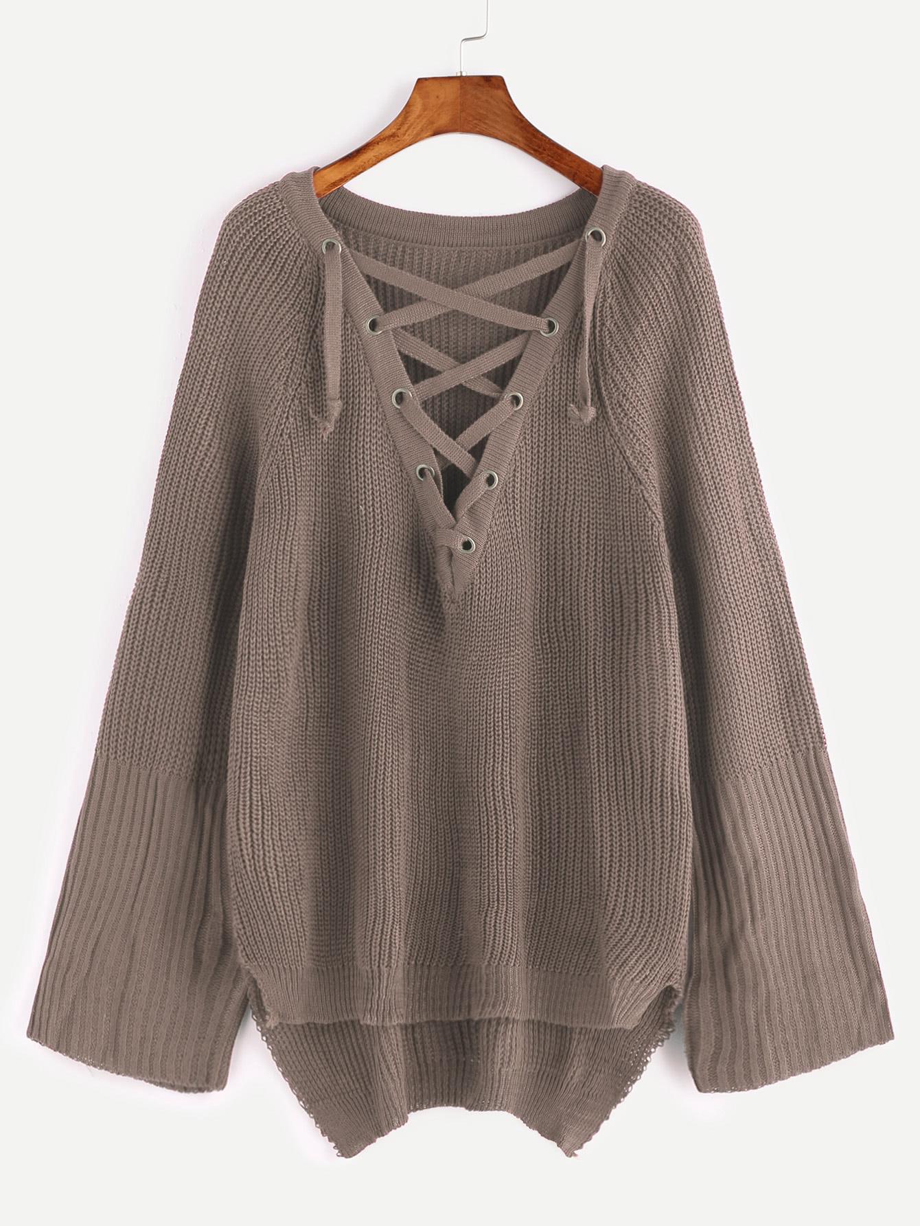 Khaki Eyelet Lace Up Slit Side High Low SweaterKhaki Eyelet Lace Up Slit Side High Low Sweater<br><br>color: Khaki<br>size: L,M,S,XL