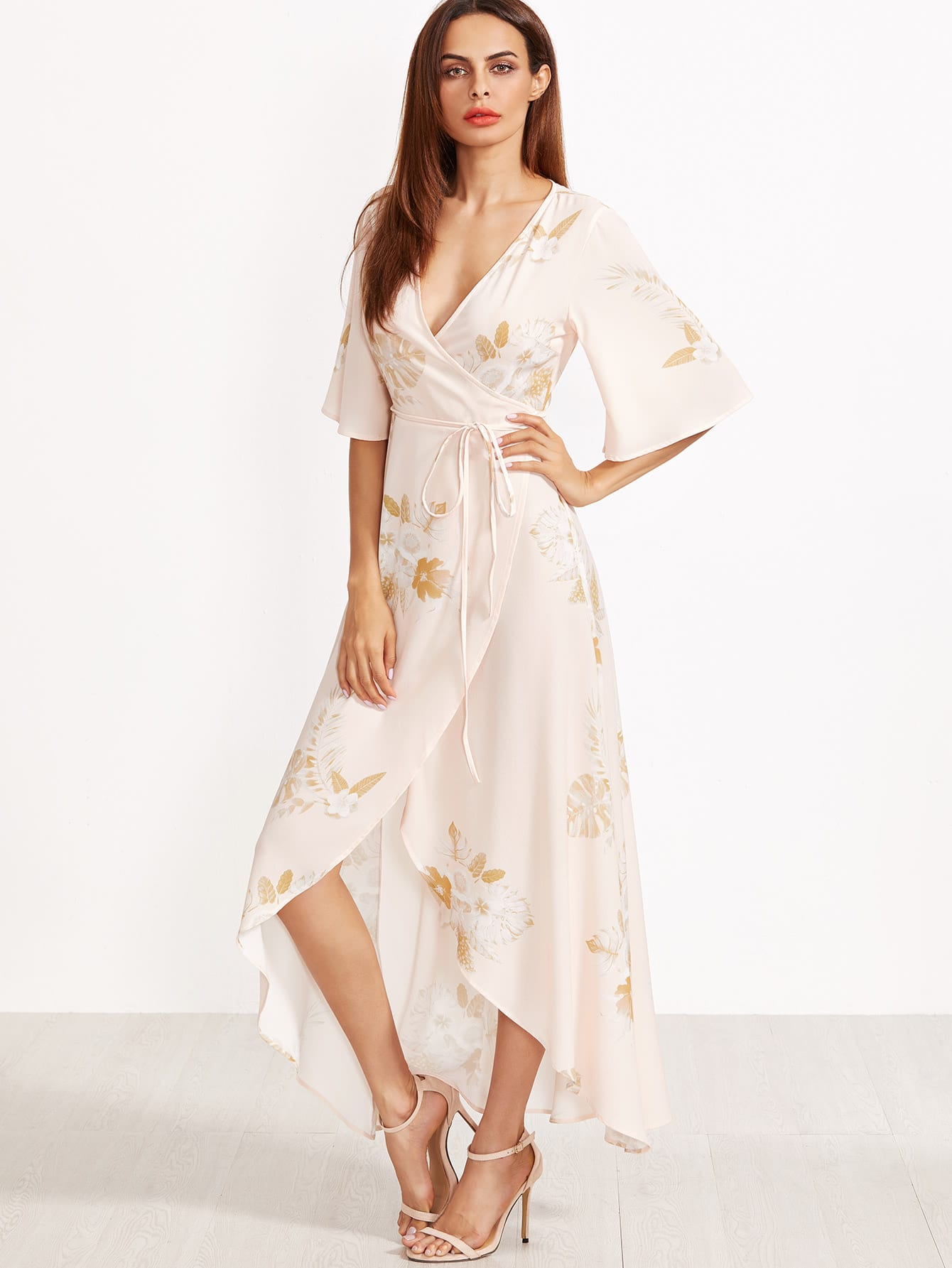 Фото Flower Print Kimono Sleeve Surplice Wrap Dip Hem Dress. Купить с доставкой
