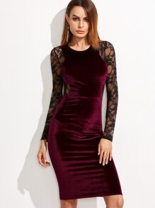 Burgundy Contrast Lace Back And Sleeve Velvet Pencil Dress