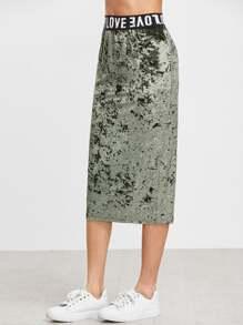 Оливково-зелёная бархатная юбка. талия с принтом Logo