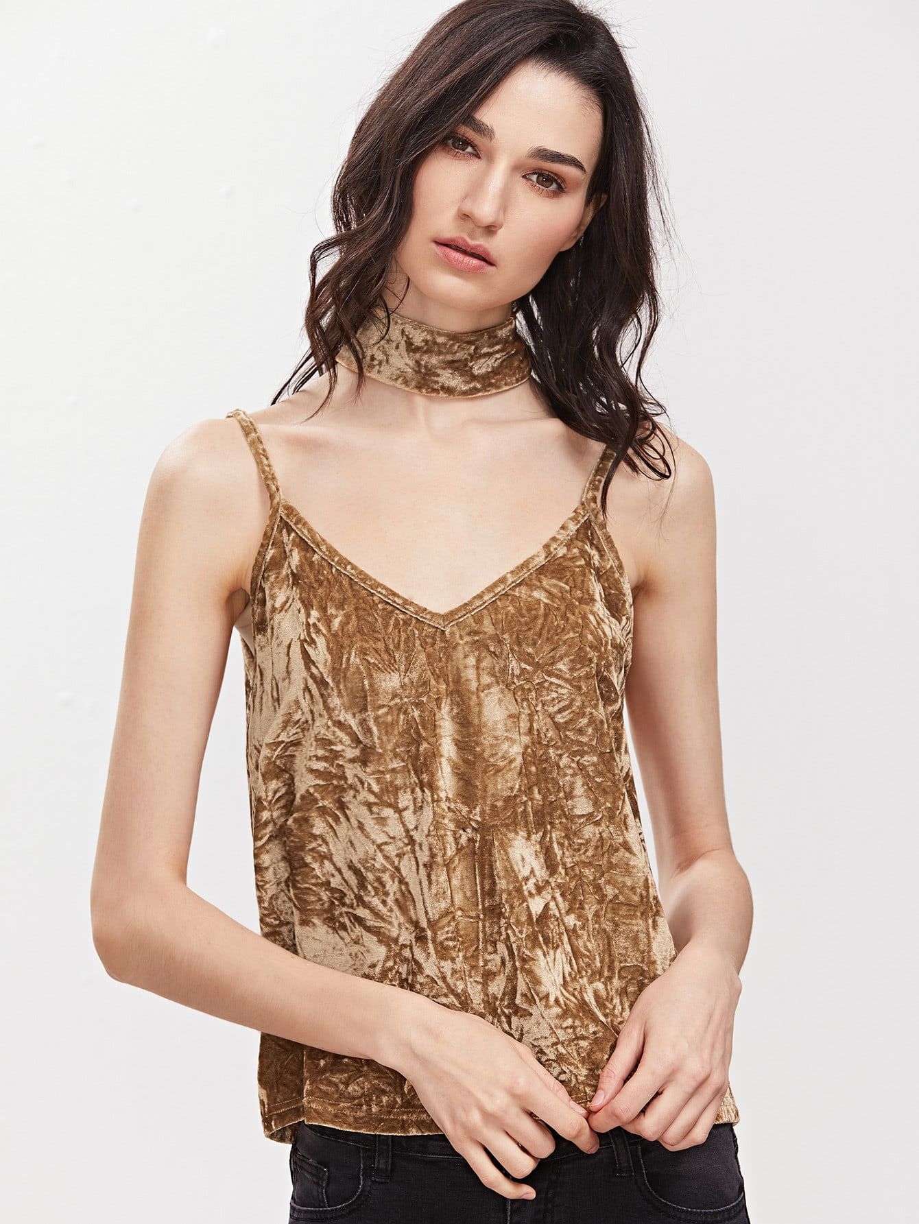 Gold V Back Crushed Velvet Cami Top With Neck Tie vest161226704