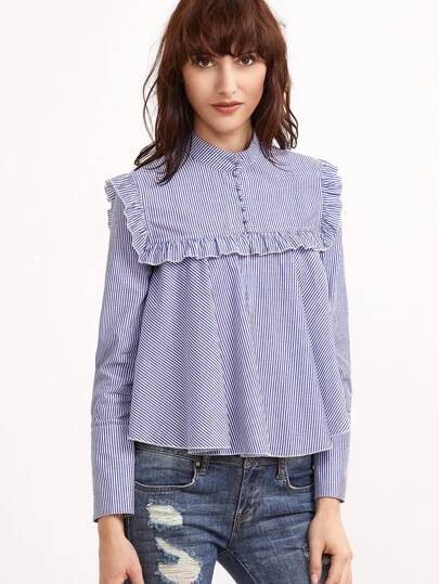Frill Yoke Striped Button Front Swing Blouse