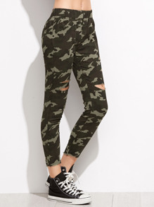 Camo Print Ripped Raw Edge Pants