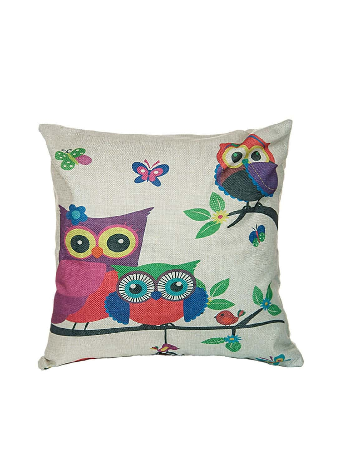 Cartoon Owl Pattern Linen Square Cushion CoverCartoon Owl Pattern Linen Square Cushion Cover<br><br>color: Beige<br>size: None