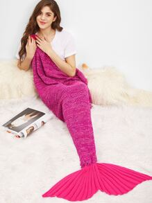 Hot Pink Marled Knit Mermaid Tail Blanket