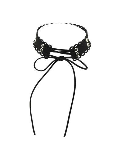 Black Color Suede Chain Choker Necklaces