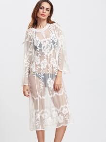White Long Sleeve Sheer Embroidered Mesh Dress