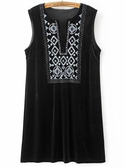 Black Embroidery V Neck Velvet Tank Dress