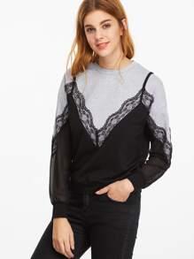 Contrast Lace Trim Sheer Sleeve 2 In 1 Sweatshirt