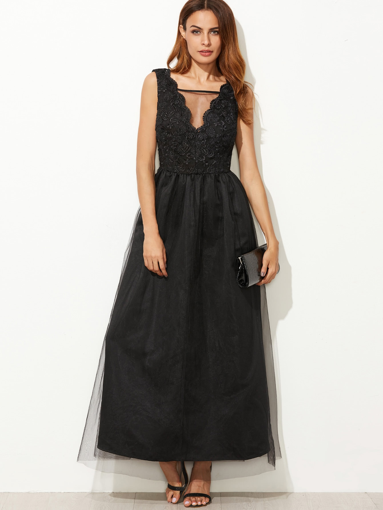 V Neckline Mesh Overlay Scallop Embroidered Dress scallop embroidered mesh overlay cami top