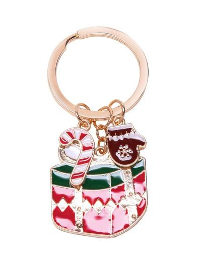 Porte-clés plaqué conception de boîte-cadeau -doré