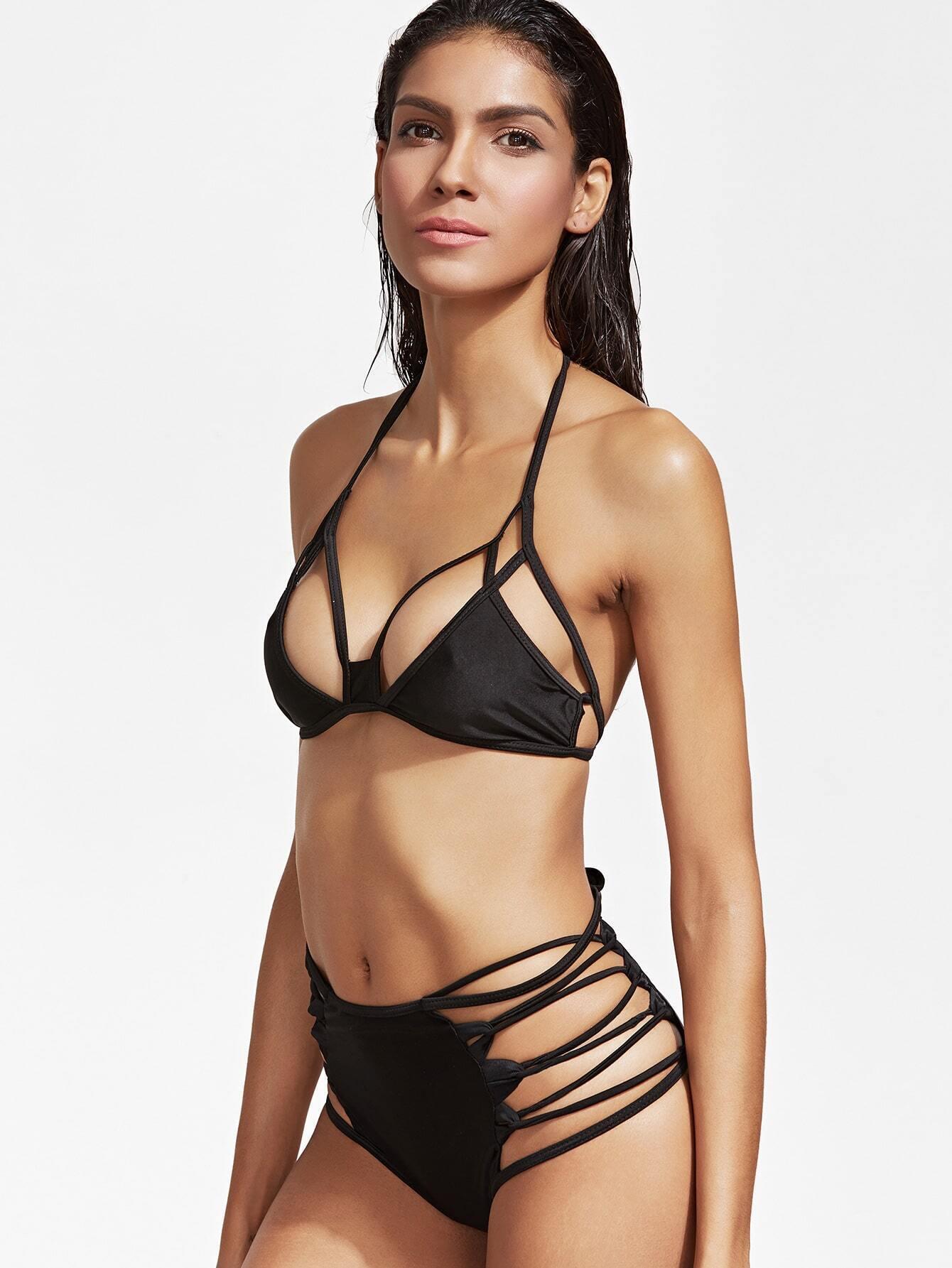Black Cutout Lace Up High Waist Bikini Set swimwear161222309