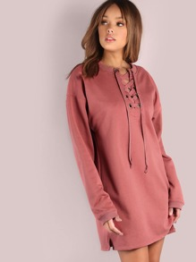 Oversized Laced Up Sweatshirt Dress ROSE