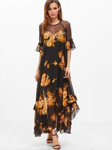 Black Flower Print Sheer Shoulder Keyhole Back Ruffle Dress