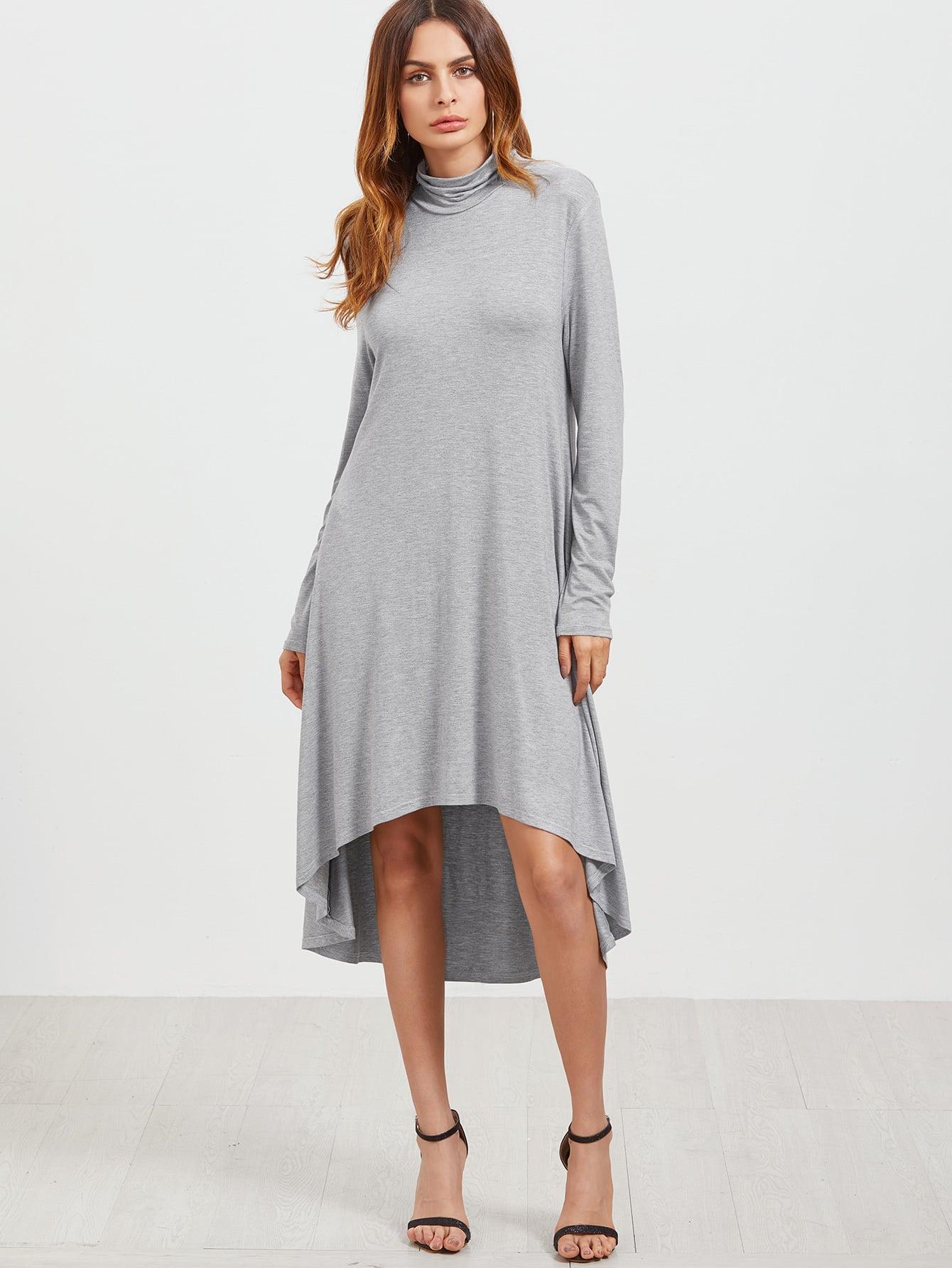 Фото Grey Cowl Neck High Low Swing Dress. Купить с доставкой