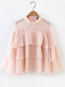 Pink Mesh Detail Layered Blouse