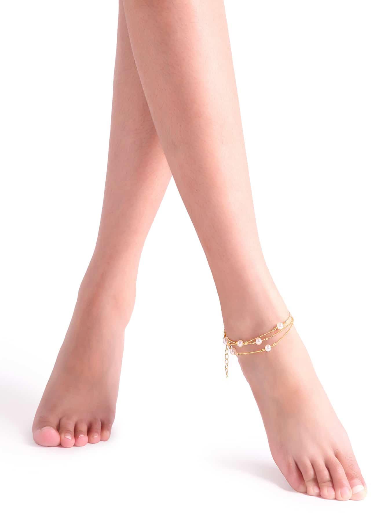 Фото Gold Faux Pearl Layered Chain Link Anklet. Купить с доставкой