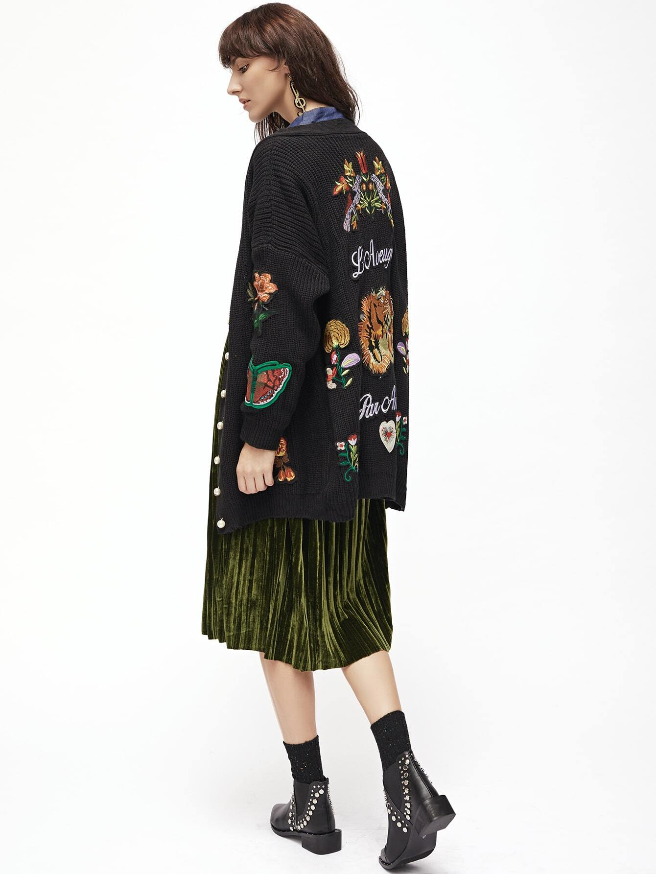 Black Embroidery Ribbed Drop Shoulder Sweater Coat With Button sweater160830224