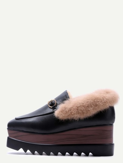 Black PU Square Toe Fur Lined Wedge Loafers