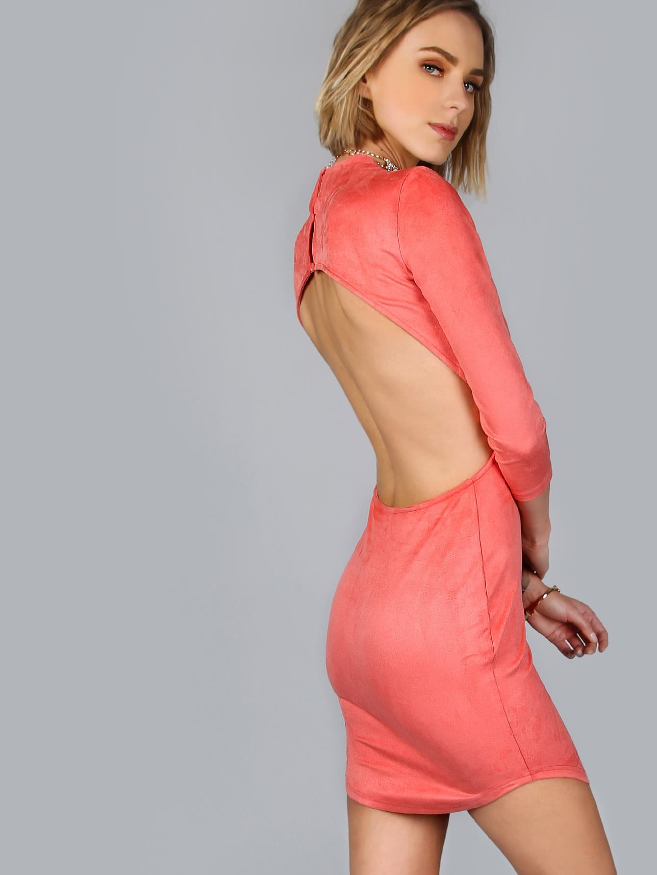 Backless Suede  3/4 Sleeve  Bodycon DressBackless Suede  3/4 Sleeve  Bodycon Dress<br><br>color: Pink<br>size: L,M,S,XS