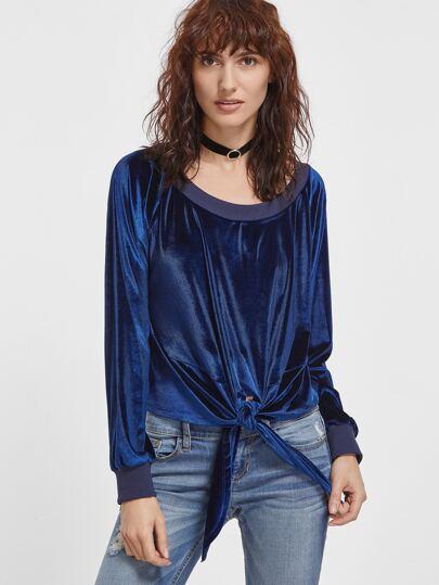 Royal Blue Scoop Neck Knot Front Velvet Sweatshirt