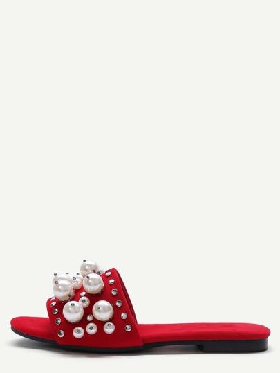 Sandalen mit Kunstperle Nieten-rot