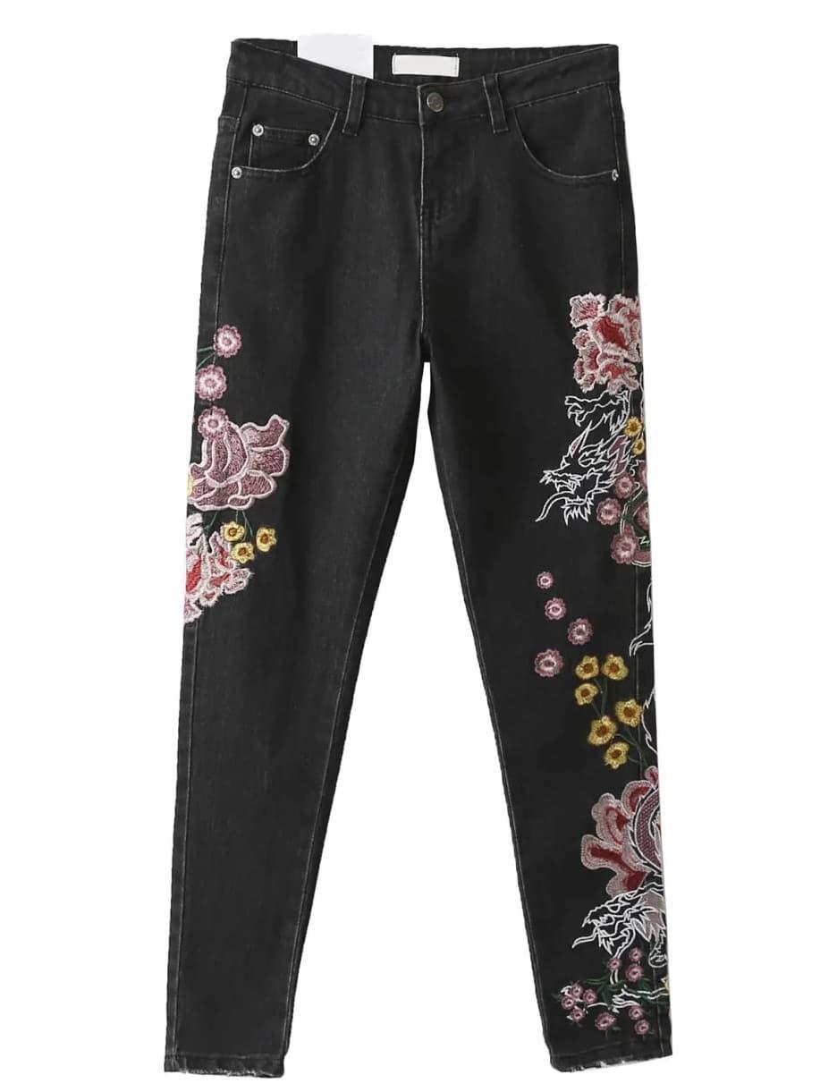 Black flower embroidery skinny jeans shein sheinside