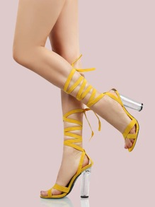 Lace Up Open Toe Perspex Heels YELLOW