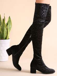 Black Embossed Velvet Zip Side Over The Knee Boots