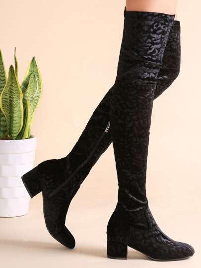 Black Embossed Velvet Zip Side Over The Knee Boots