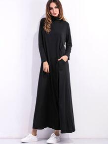 Black High Neck Shift Dress With Pockets