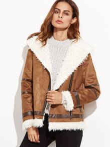 Contrast Panel Faux Shearling Asymmetric Zip Jacket