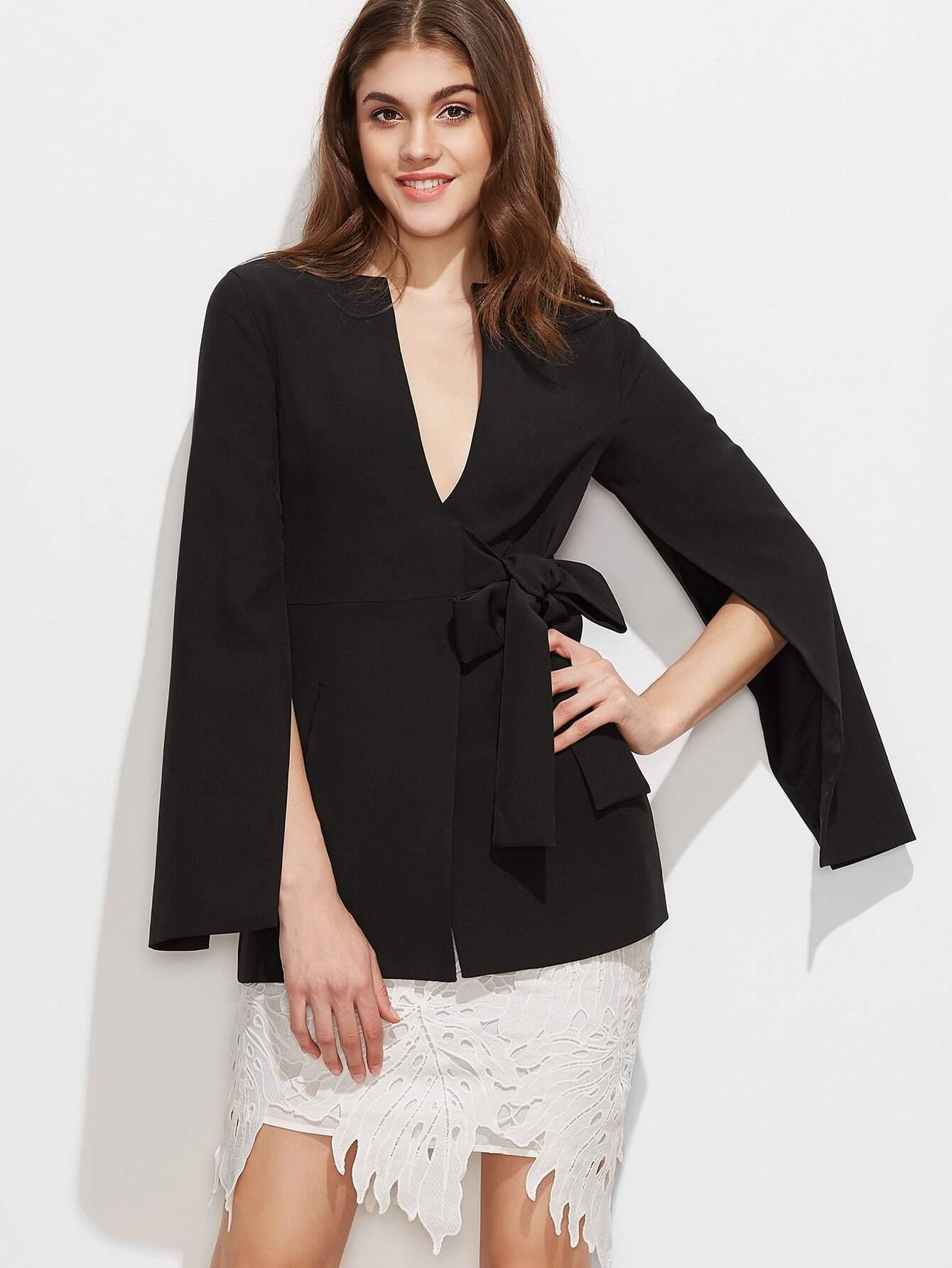 Black split sleeve bow detail wrap blazer