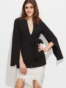 Split Sleeve Bow Detail Wrap Blazer