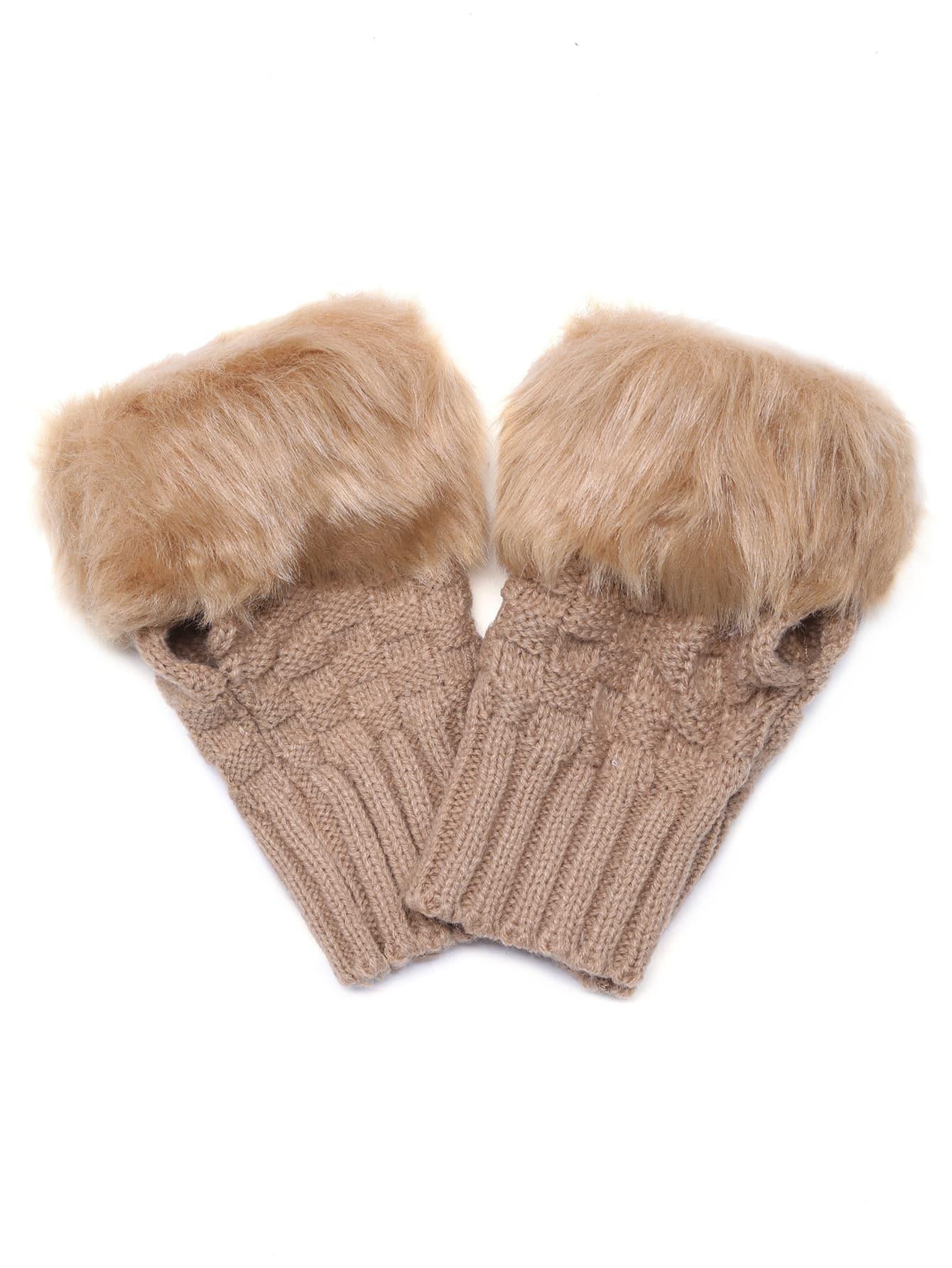 Camel Fingerless Design Fur Cuff Knittted Gloves