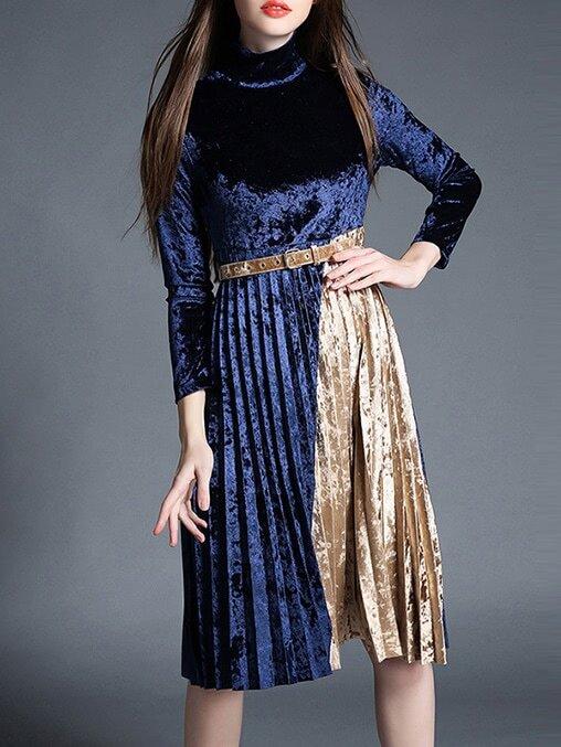 Фото Blue Contrast Yellow Belted Pleated Velvet Dress. Купить с доставкой