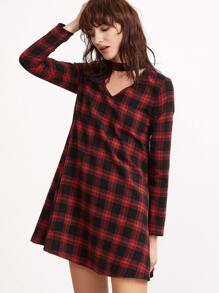 Black And Red Plaid Cutout Choker Neck Swing Dress