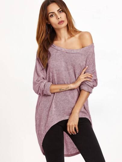 T-shirt One Schulter abfallendem Saum-rosa