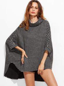 Contrast Striped Turtleneck High Low Poncho Coat