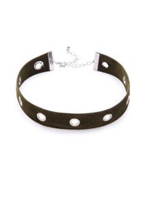 Olive Green Eyelet Around Velvet Choker