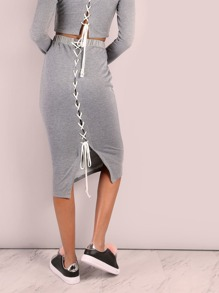 Cross Laced Back Midi Skirt HEATHER GREY