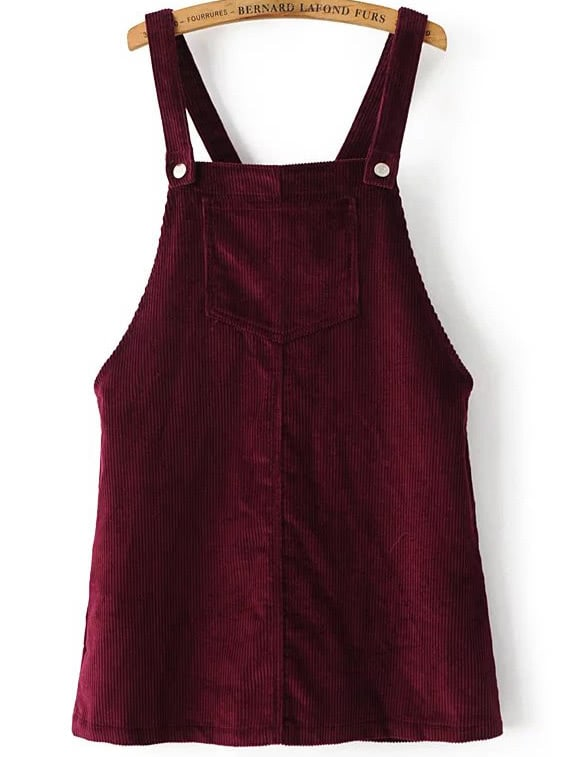 Burgundy Corduroy Overall Dress With Pocket dress161221201