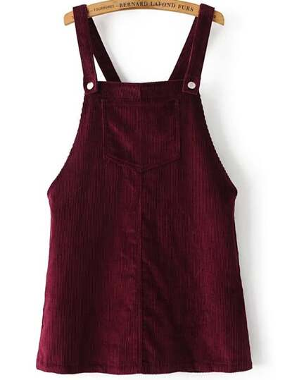 Burgundy Corduroy Overall Dress With Pocket