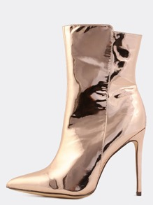 Metallic Pointed Toe Boots ROSE GOLD
