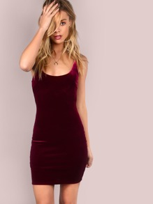 Smooth Velvet Cami Mini Dress MAUVE