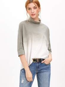 Green Ombre Turtleneck 3/4 Sleeve T-shirt