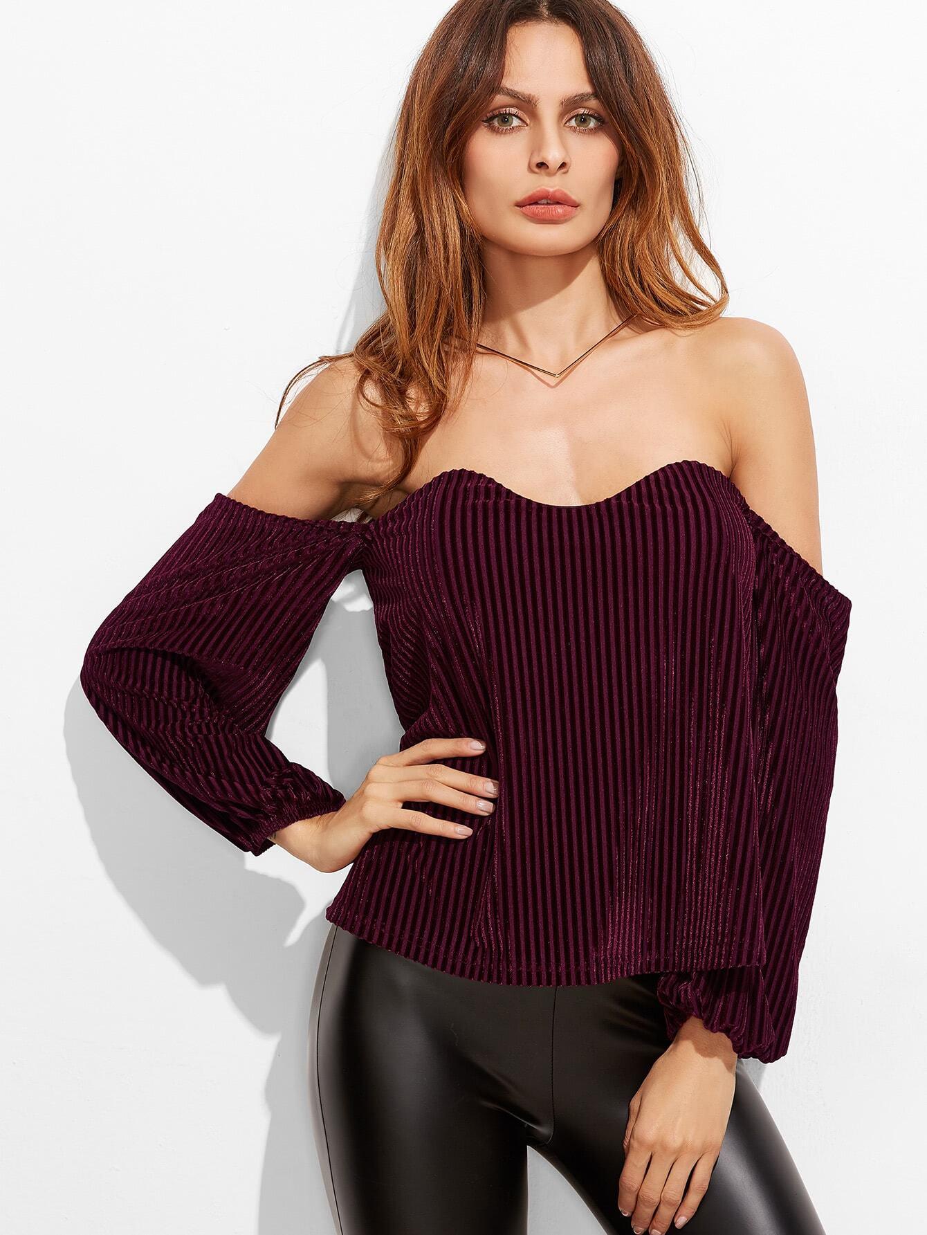 Burgundy Off The Shoulder Ribbed Velvet Top blouse161205713